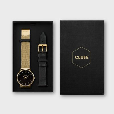 Gift Box Minuit Special Mesh Gold Colour & Leather Strap
