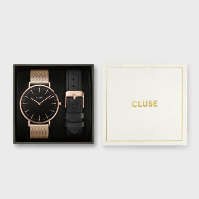 Gift Box Boho Chic Mesh Watch & Leather Strap Rose Gold Colour